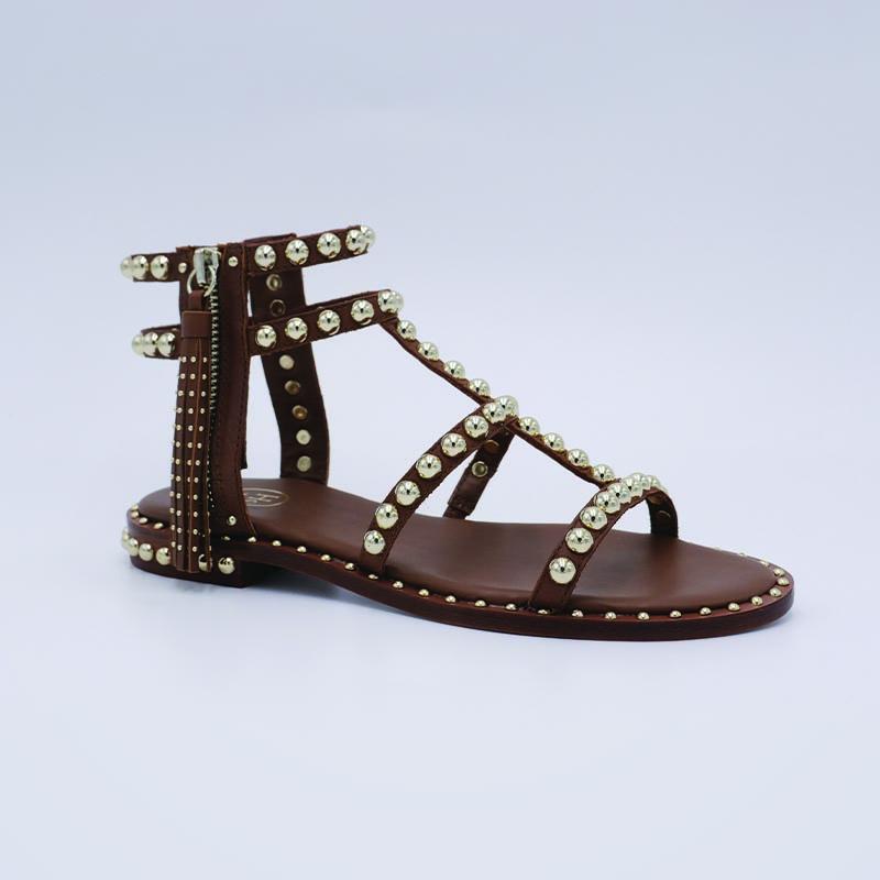Ash-Sandale-spartiate-cuir-nature-mode-pompon-bijou-de-pieds