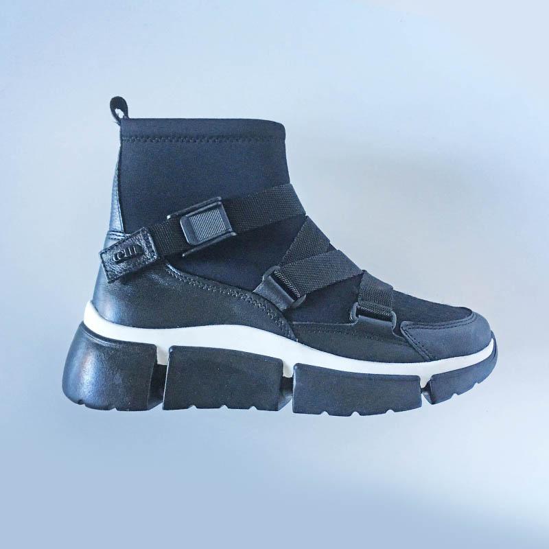 Cetti - bottine chaussette cuir et tissu imperméable avec clip chez Chérie Chaussures Annecy