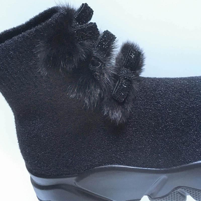 Studio Italia - bottine chaussette noire à mini noeuds chez Chérie Chaussures à Annecy