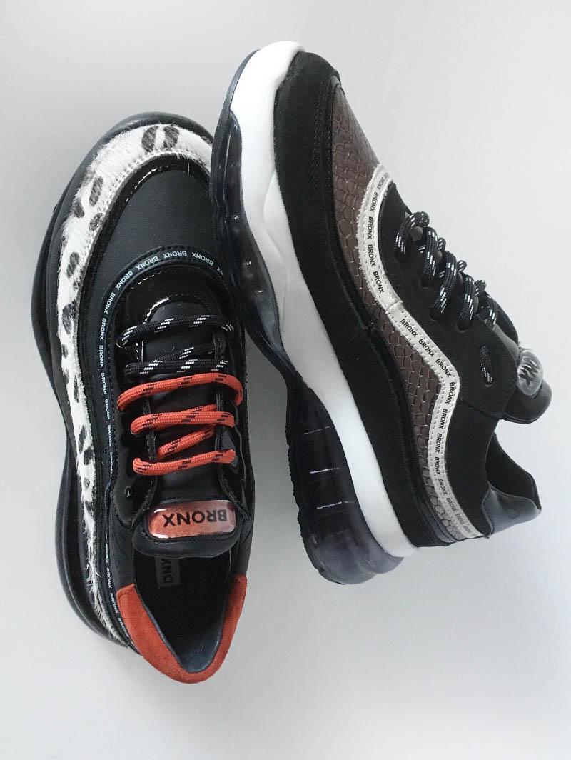 Basket Bronx tricolore à lacets noirs ou rouges et semelle XXL chez I Lov Shoes à Annecy