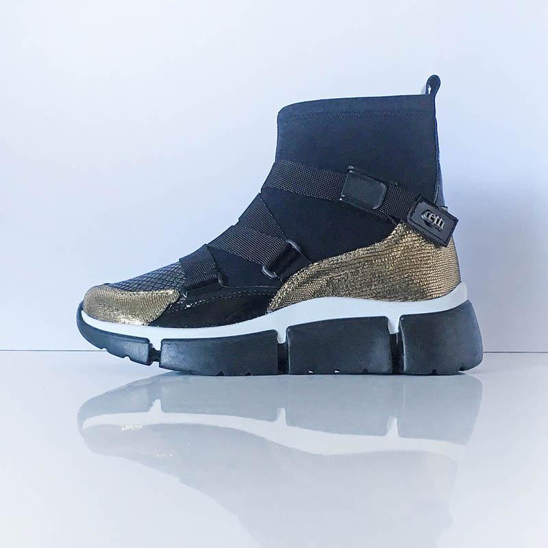 Cetti - bottine chaussette cuir noir et or et tissu imperméable avec fermeture clip chez Chérie Chaussures Annecy