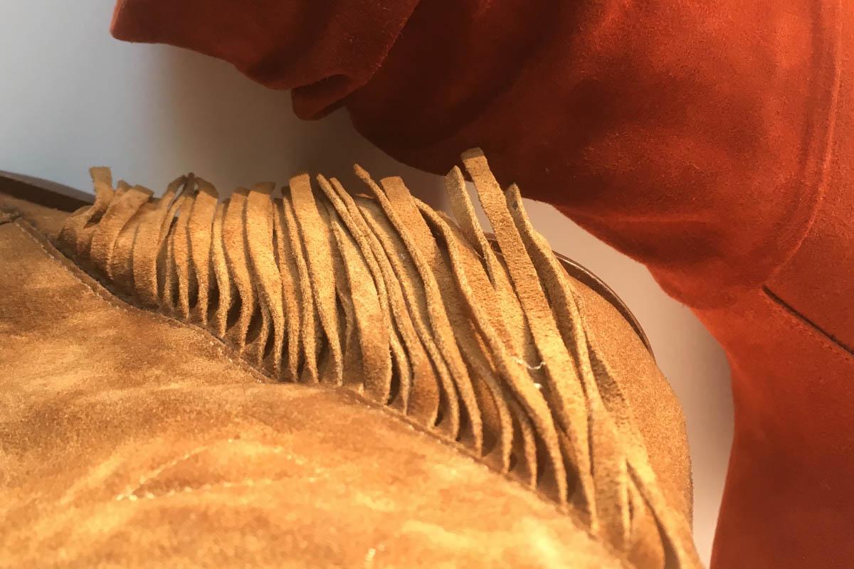 Kanna - bottine tiag à frange peau velours chez Chérie Chaussures