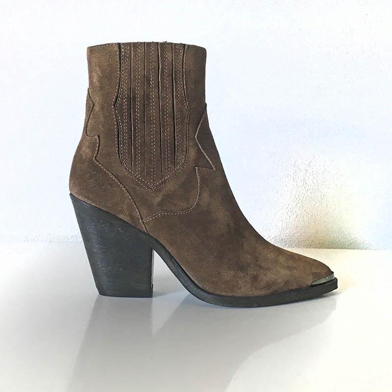 Gian Carlo Napoli Chaussures - bottine veau velours couleur café talon biseauté