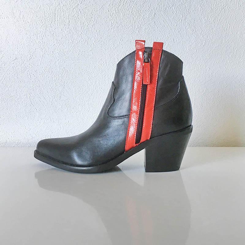 Semerdjian - bottine tiag noir avec les 2 bandes de cuir rouges flamboyantes chez Chérie Chaussures Annecy