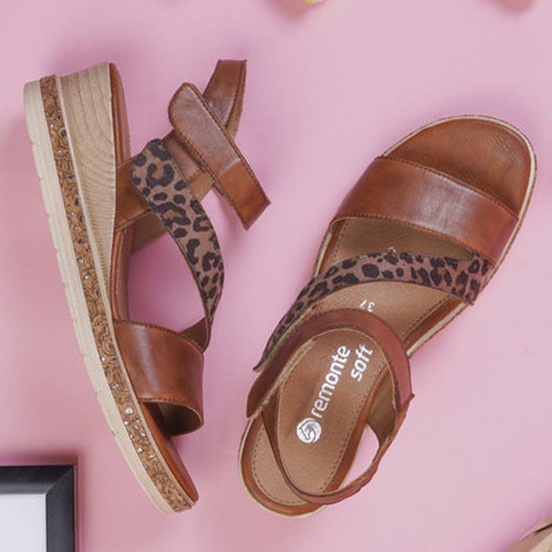 Remonte-sandale-talon-compense-cuir-leopard