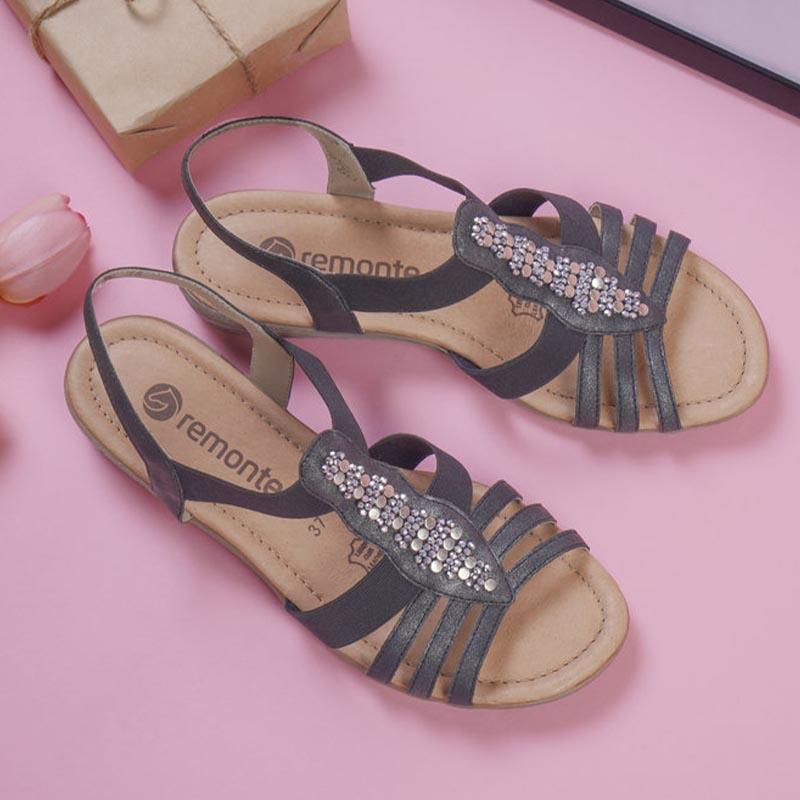 Remonte-sandale-noir-bijou-senior-Annecy