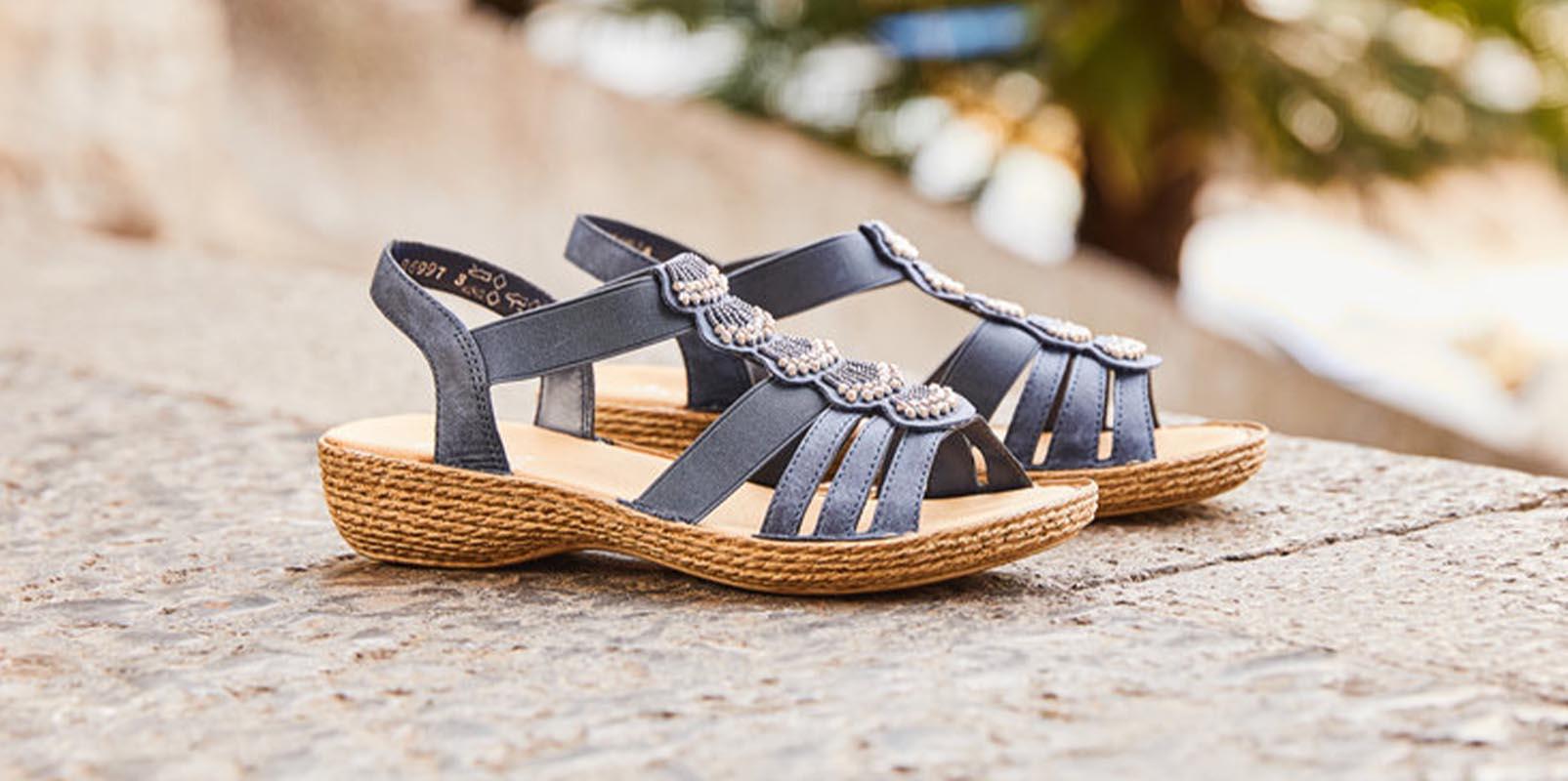Rieker-Sandales-cuir-marine-brides-bijou
