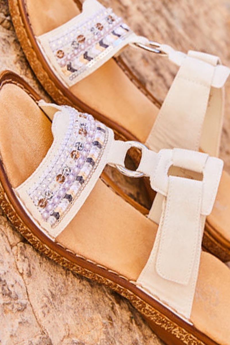 Rieker-Sandales-cuir-blanc-confort