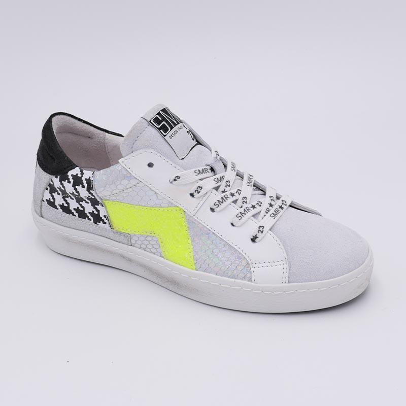 Basket-blanche-motifs-princedeGalle-SMR-fluo-jaune