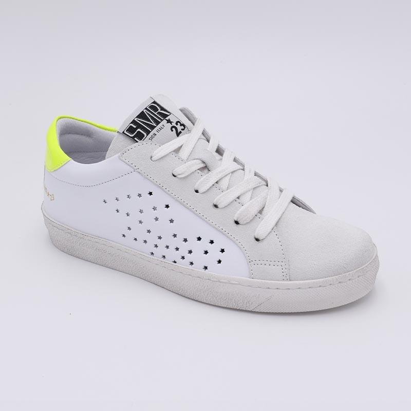 Basket-SMR-cuir-blanc-patte-fluo-jaune