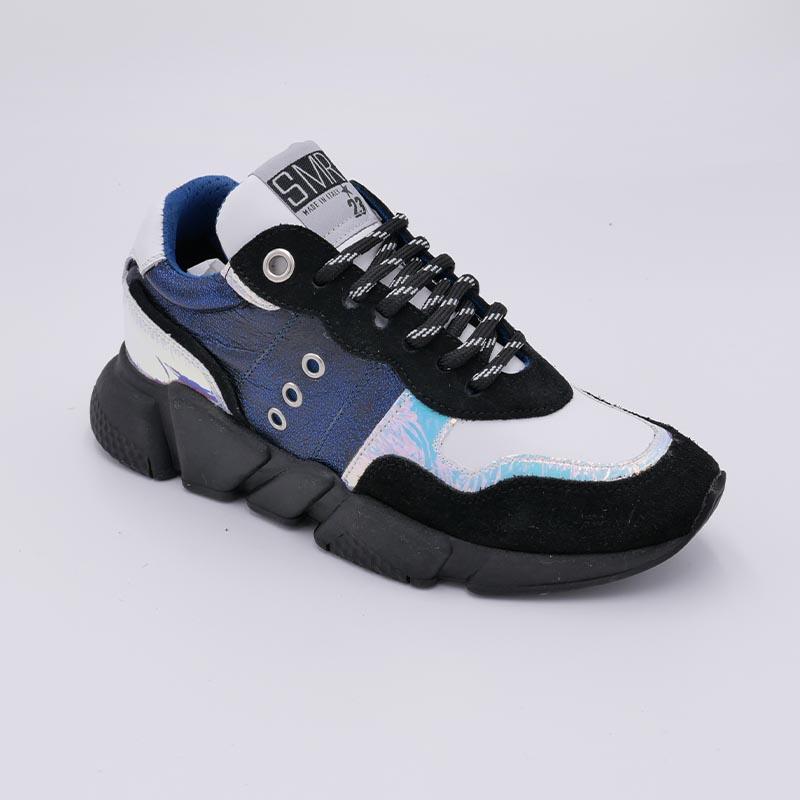 Sneakers-elegance-classic-toile-bleu-cuir-noir-Semerdjan