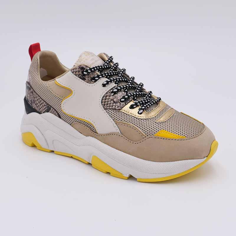 Sneakers-Serafini-sport-Python-Cuir-Or