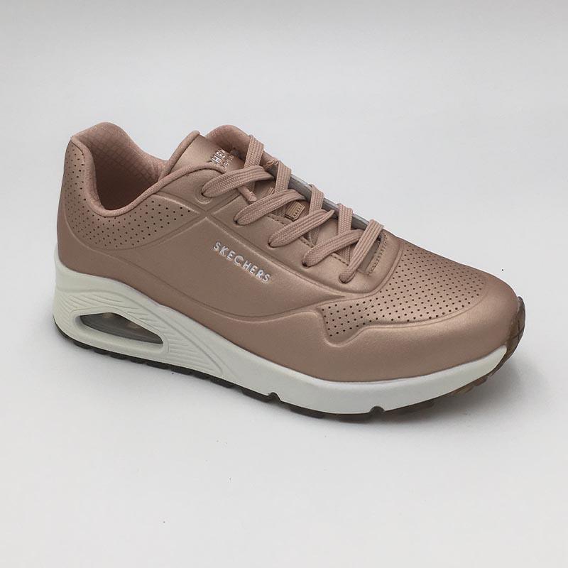 Skechers-sneaker-feminin-sport-city-cuir-or-rose-Annecy