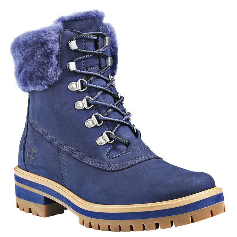 Timberland chaussures - bottines veau velours bleu indigo à fourrure