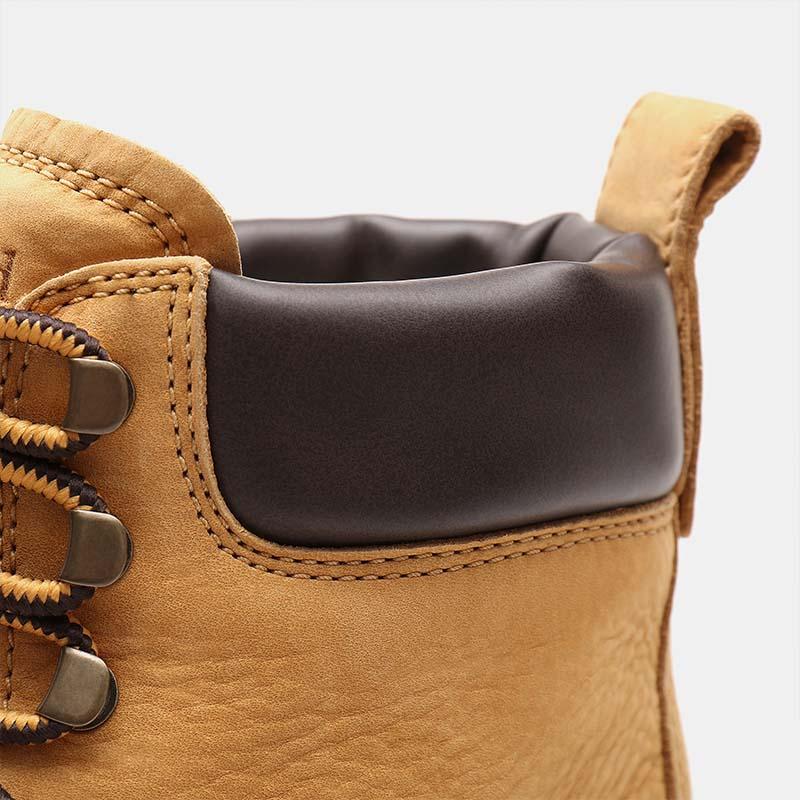 Timberland chaussures - bottines à talon cuir beige - détail finition