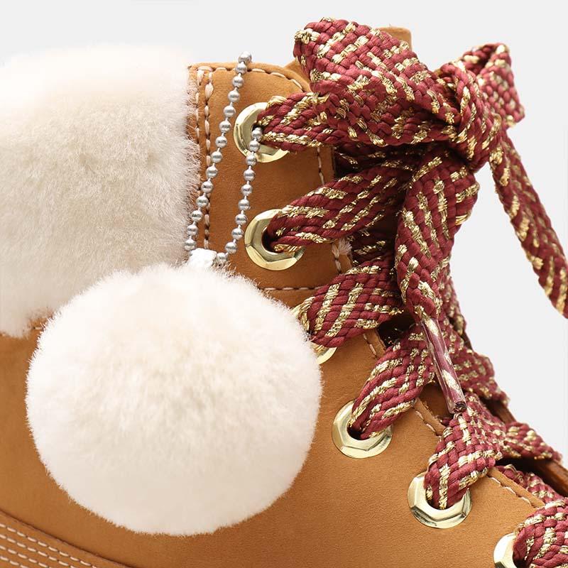 Timberland chaussures - bottines à talon cuir beige à fourrure détail 2