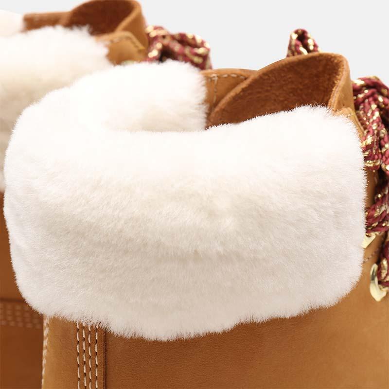 Timberland chaussures - bottines à talon cuir beige à fourrure - détail