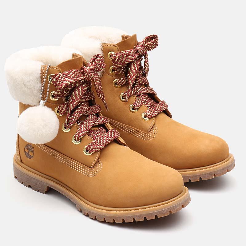Timberland chaussures - bottines à talon cuir beige à fourrure